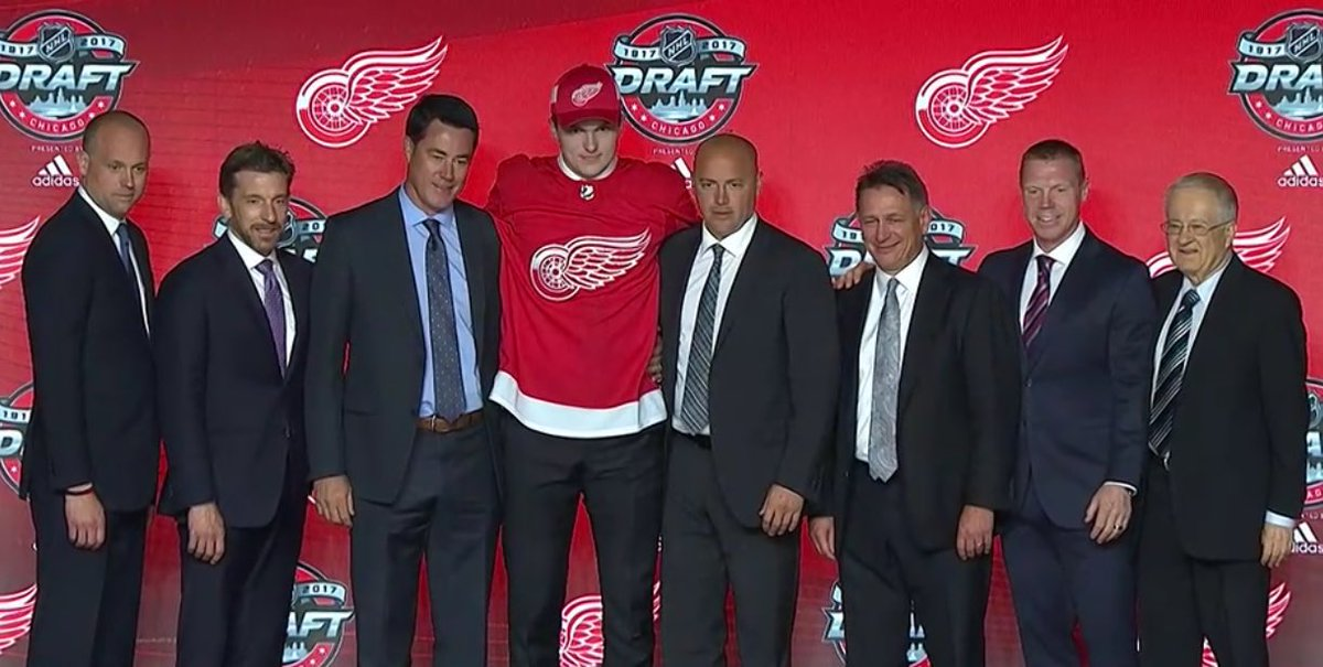 Red Wings select center Michael Rasmussen No. 9 overall.   Size: 6'6'...