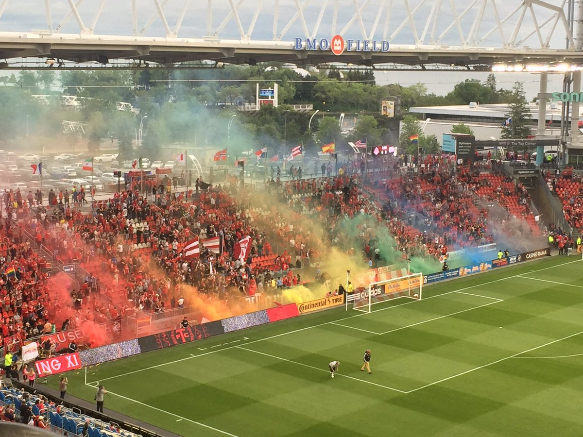 OMG!! #Pride smoke at the @torontofc game for #pride night!!   #TFCliv...