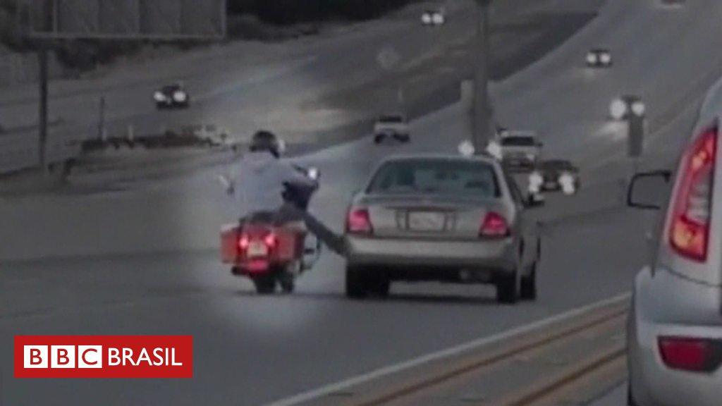 Fúria no trânsito provoca impressionante sequência de acidentes em rodovia nos EUA https://t.co/hm21FeYZYY