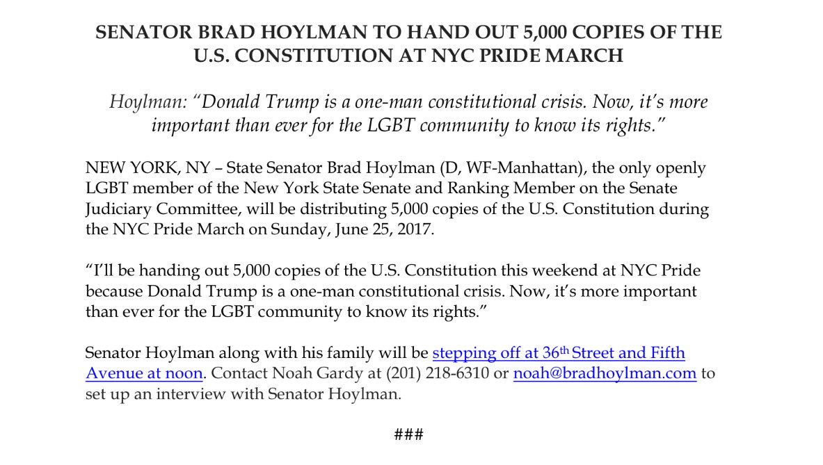 Know your rights! Trump is a 1-man constitutional crisis. I'll be handing out 5,000 copies of the US Constitution at #Pride2017 🏳️‍🌈