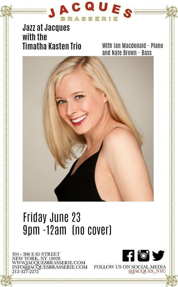 #FridayFeeling #frenchrestaurant #Jacques #NYCPride #livemusic #Jazz #French #Romantic #datenight #Timatha 9pm-12  East 85th at 3rd Ave.<br>http://pic.twitter.com/I6ClFY724z