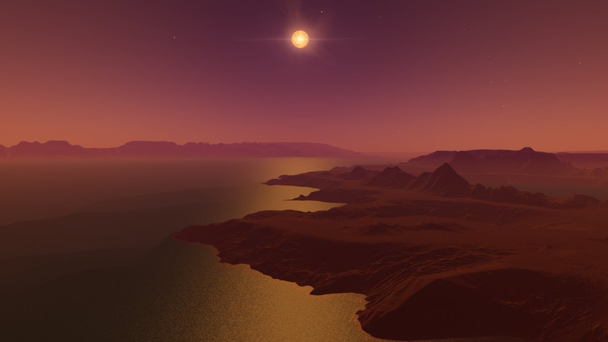 This #RedDwarf presides over an earth-like #exoplanet with a magenta #atmosphere .  From my #spacetravel in @SpaceEngineSim . #Space<br>http://pic.twitter.com/Gngtlwu066