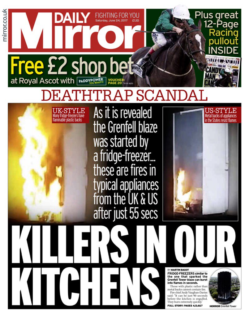 Saturday's Daily Mirror: 'Killers In Our Kitchens' #bbcpapers #tomorrowspaperstoday (via @AllieHBNews) https://t.co/R7OqYTBvvp