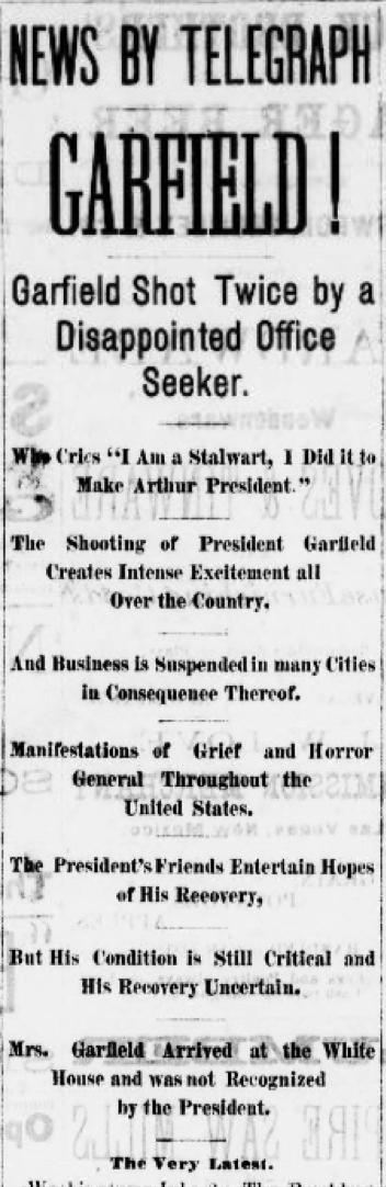 President James Garfield shot by disgruntled office-seeker Charles Guiteau in Washington, D.C. Read more in #ChronAm https://t.co/fqAwICLiOa https://t.co/5sU4lVAGDo