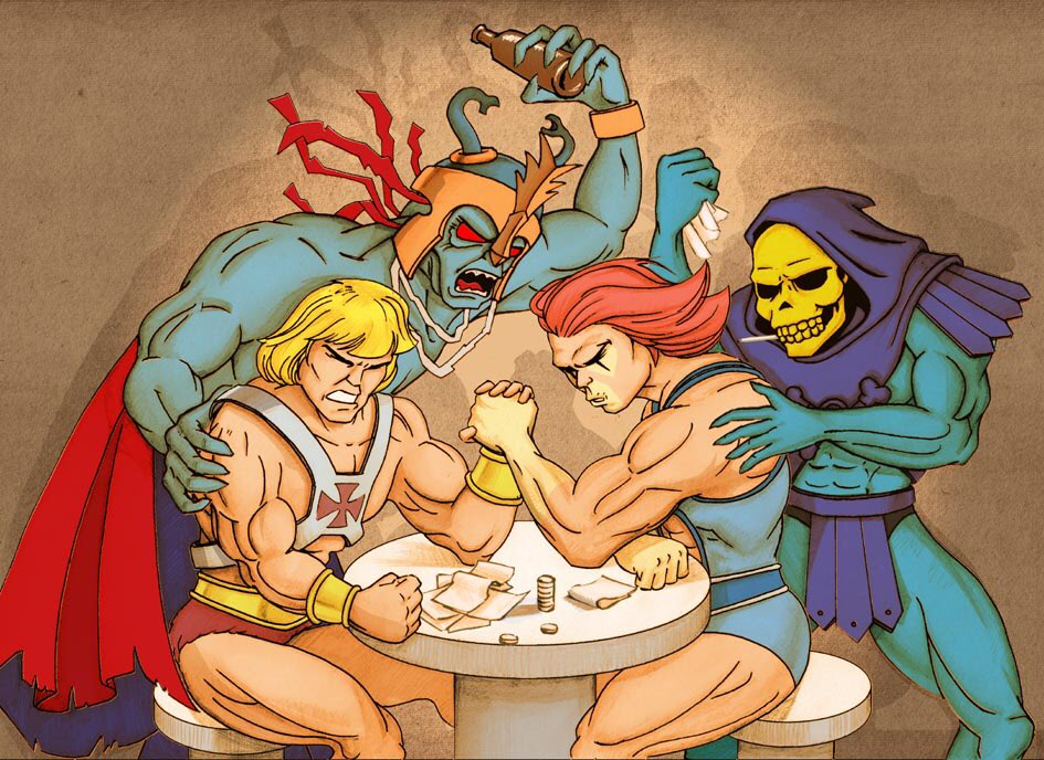 #HeMan wins, but #LionO has all of the might of Thundera on his side. #MOTU #Thundercats. Remember the Anointment of Lion-O?<br>http://pic.twitter.com/70TnVuTIZq