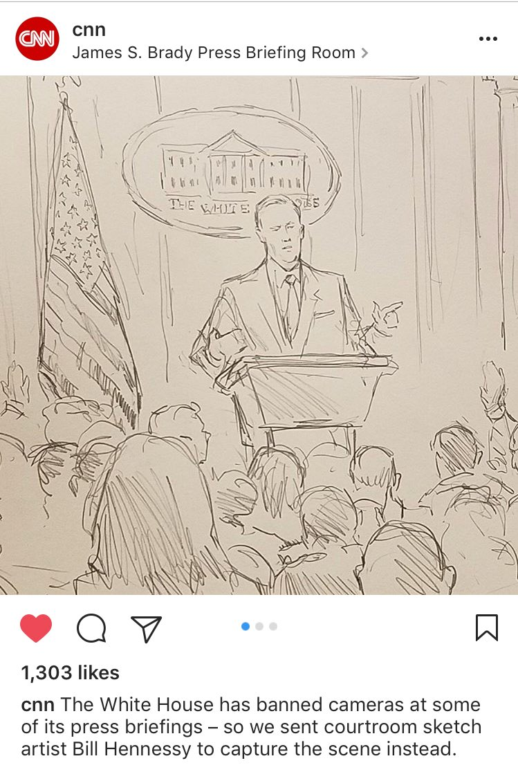 So sketchy to not have cameras at WH briefing. So CNN sent sketch artist to capture the moment.