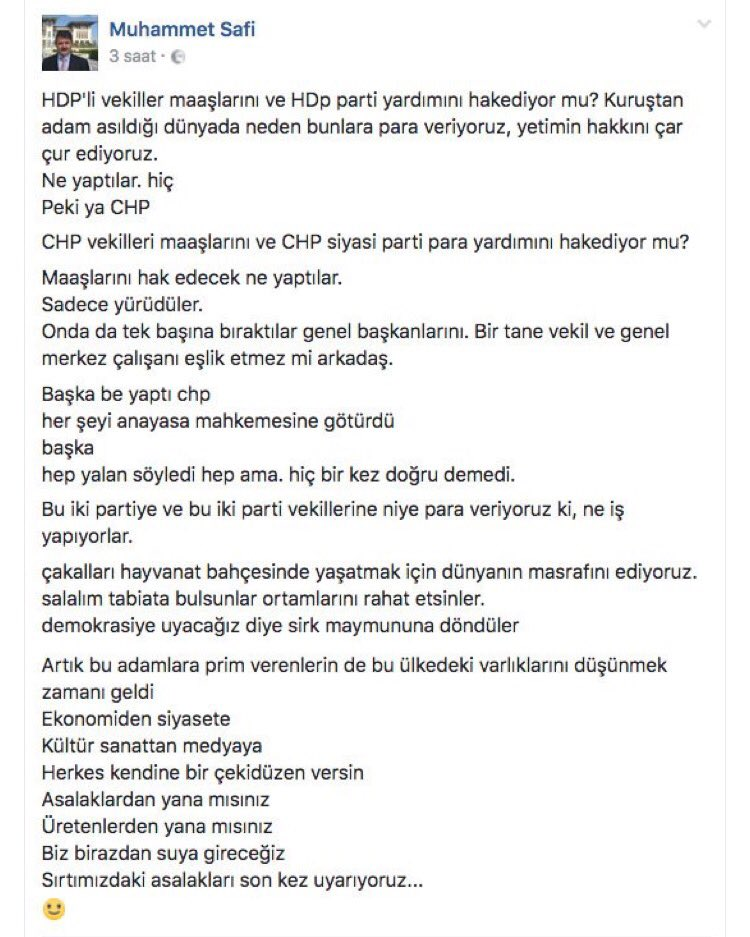 another scandalous #facebook post from #Erdogan&#39;s Archive Chief:  we pay a lot to breed jackals &#39;[opposition party #MPs] in the zoo<br>http://pic.twitter.com/izGXolHpdv