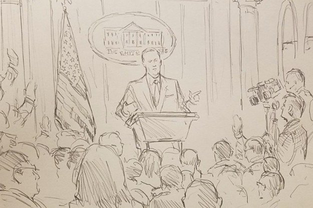 The White House banned cameras from the daily press briefing so CNN sent a sketch artist 😭😂