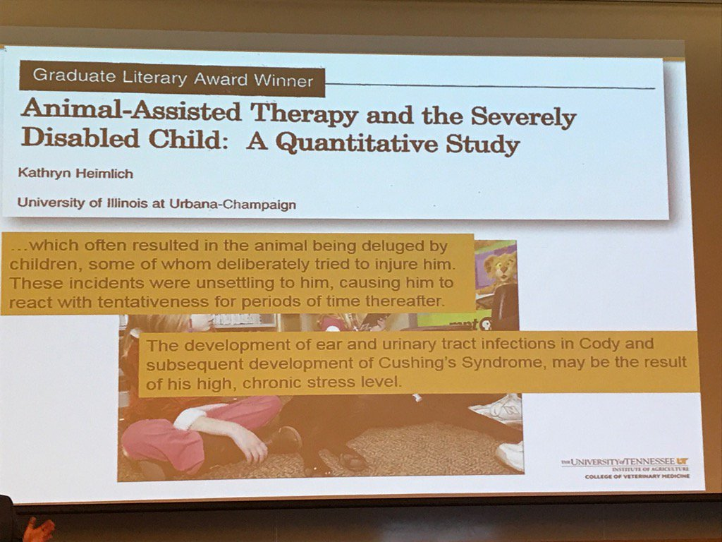 Risk of harm to animals in animal assisted interventions is under discussed & studies. Zenithson Ng #ISAZ2017 https://t.co/RSpcmu0dkr