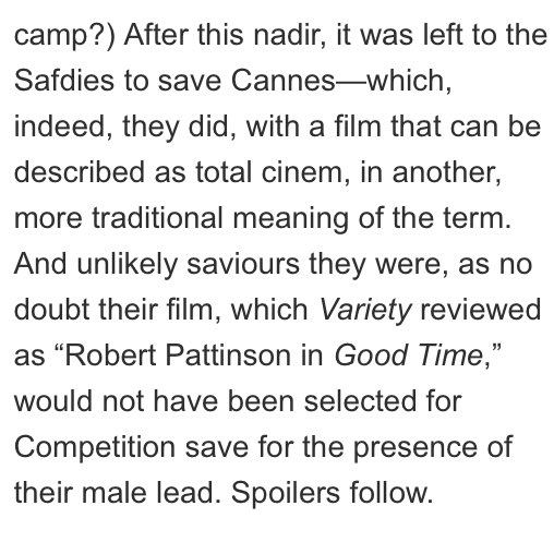 &quot;(Good Time) would not have been selected for Competition save for the presence of their male lead.&quot;~Cinema Scope  #RobertPattinson #Cannes <br>http://pic.twitter.com/X5xPzVFkjZ