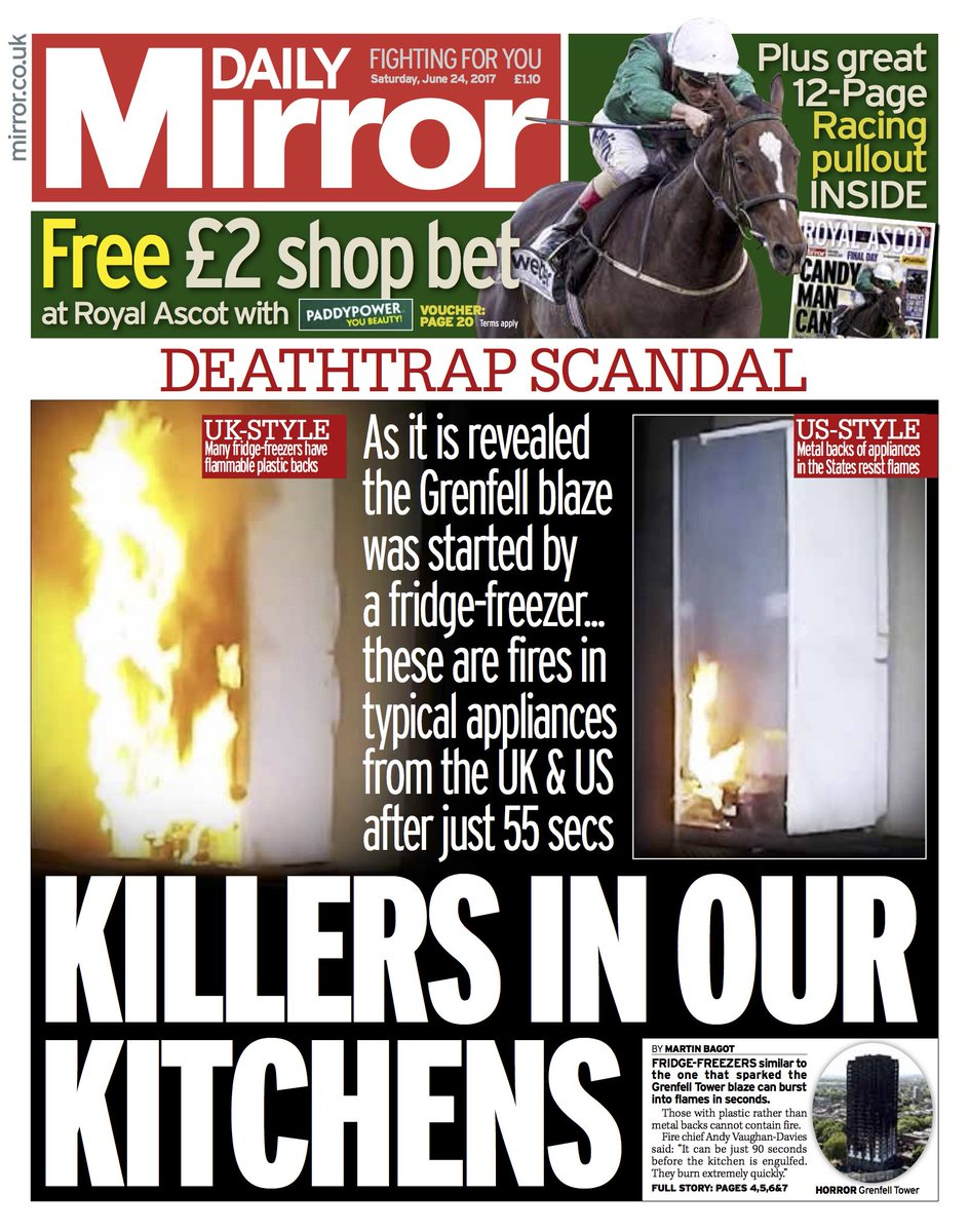 DAILY MIRROR FRONT PAGE: 'Killers in our kitchens' #skypapers