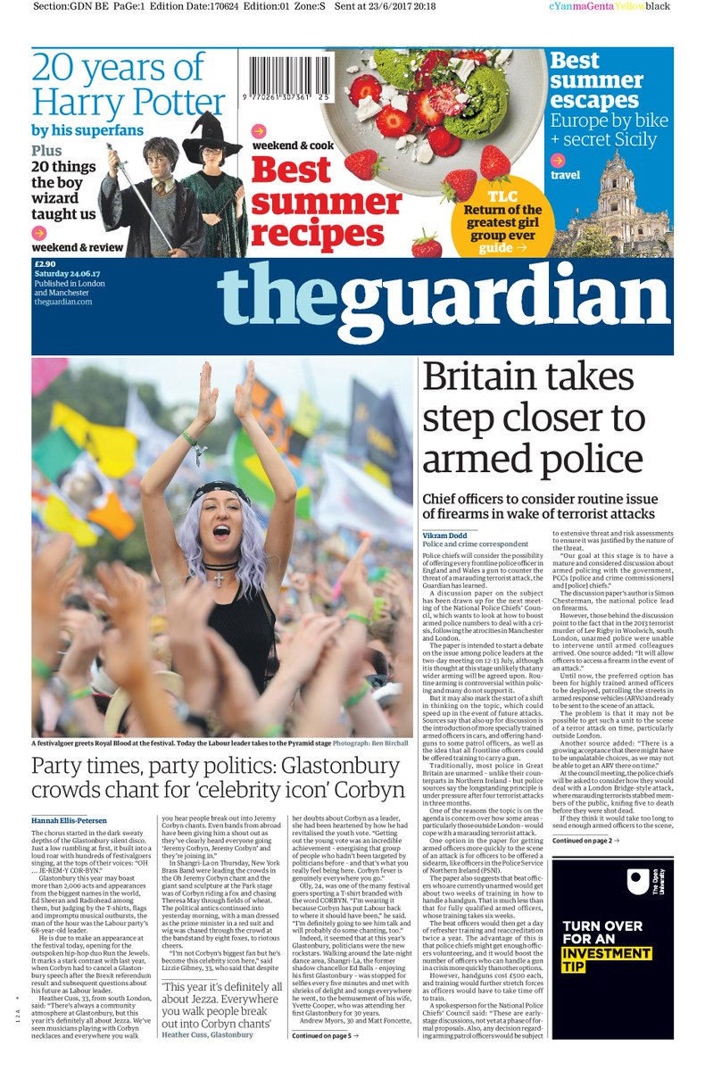 THE GUARDIAN FRONT PAGE: 'Britain takes step closer to armed police' #skypapers