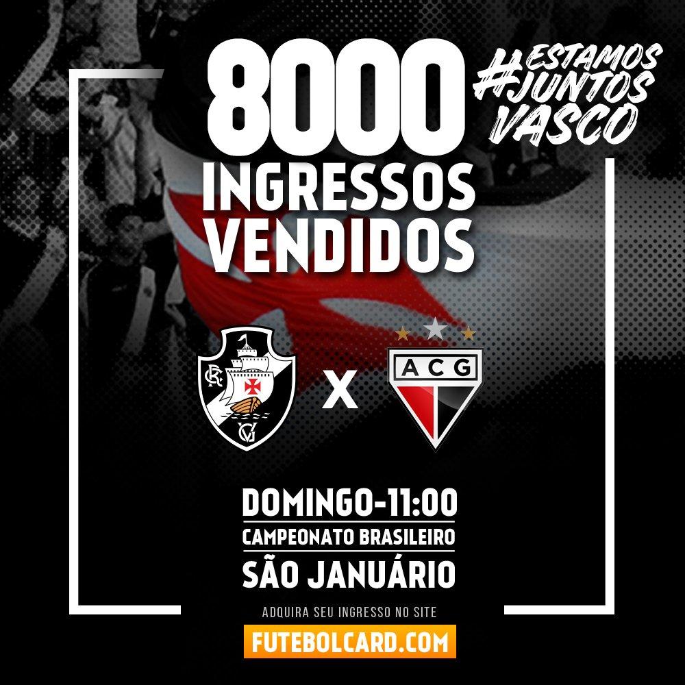 Oito mil ingressos vendidos para Vasco x Atlético-GO em São Januário. Garanta o seu em https://t.co/WtmCJXjiiH! #EstamosJuntosVasco