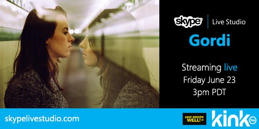 .@GordiMusic's about to go live on @SkypeLiveStudio. We reckon you should dial in: http://www.skypelivestudio.com  #CloserWithSkype