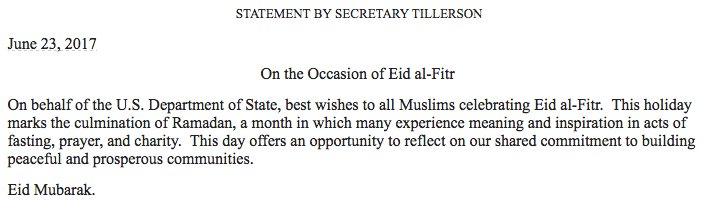 On behalf of the @StateDept, Secretary Tillerson wishes #EidMubarak to...