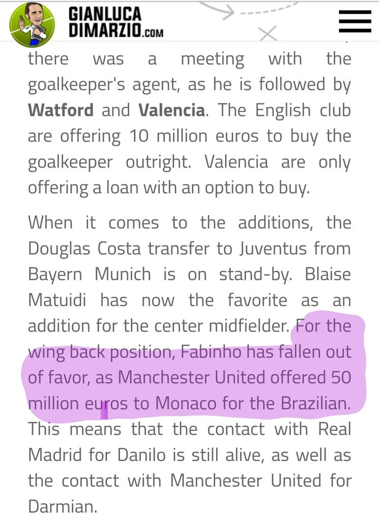 So @DiMarzio speaks ...again . When was this bid made if we only have a small piece inbetween a #juve story?#mufc #fabinho #monaco pic.twitter.com/FCZMacyGZG