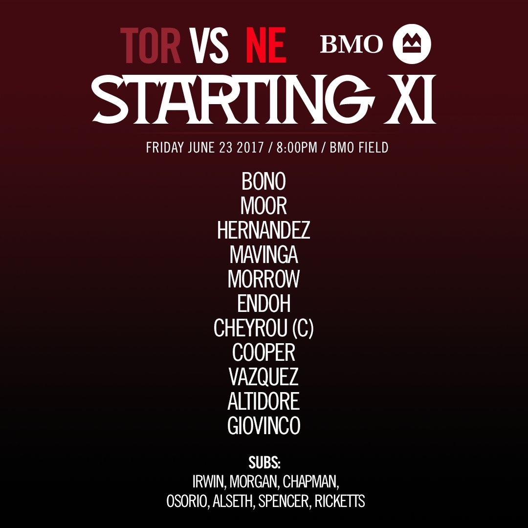 No time to rest  Here's tonight's @BMO starting XI vs. @NERevolution...