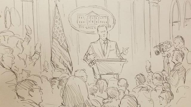 CNN sends courtroom sketch artist to White House press briefing after cameras banned: https://t.co/LukG27oz8r https://t.co/u80LGRRcxV