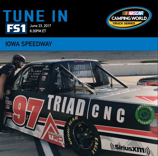 .@jesselittle97 will start 9th in tonight&#39;s M&amp;M&#39;s 200 @iowaspeedway driving the @triadrt CNC Tundra. #NASCAR <br>http://pic.twitter.com/qvWxMhuhaQ