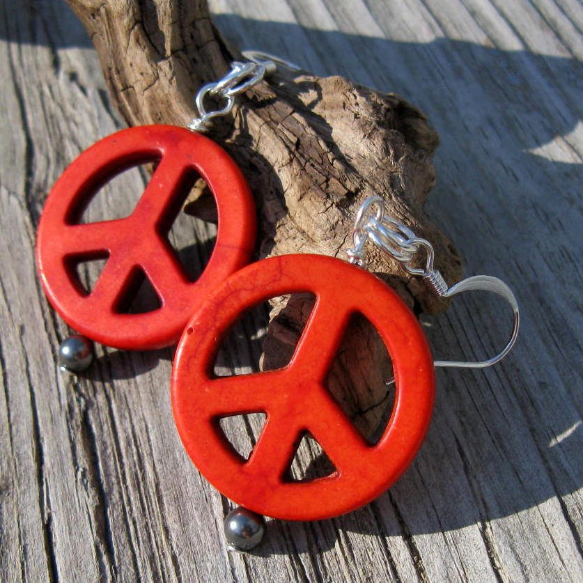 Stone Peace Sign Earrings  http:// tuppu.net/12eee117  &nbsp;   #jetteam #Funky <br>http://pic.twitter.com/mGMvY4kl5Y