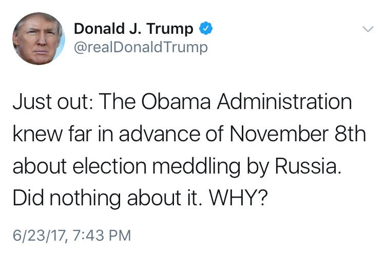 You&#39;re the CURRENT sitting POTUS, so now that you&#39;re admitting #RussianHacking do something other than tweet about it!   #TrumpRussia<br>http://pic.twitter.com/33l9CO5TzG