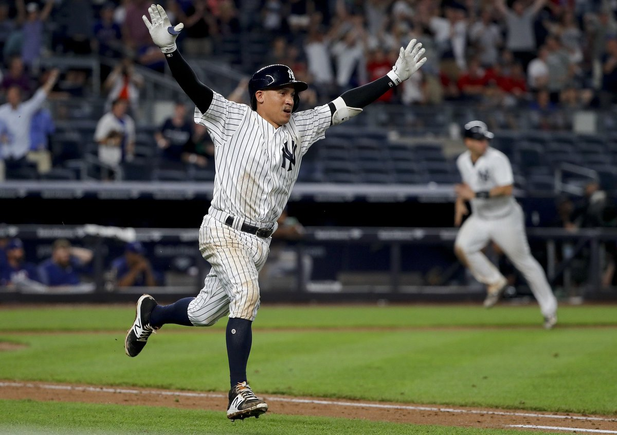 Ronald Torreyes: 1st career walk-off hit.   Yankees' first walk-off si...