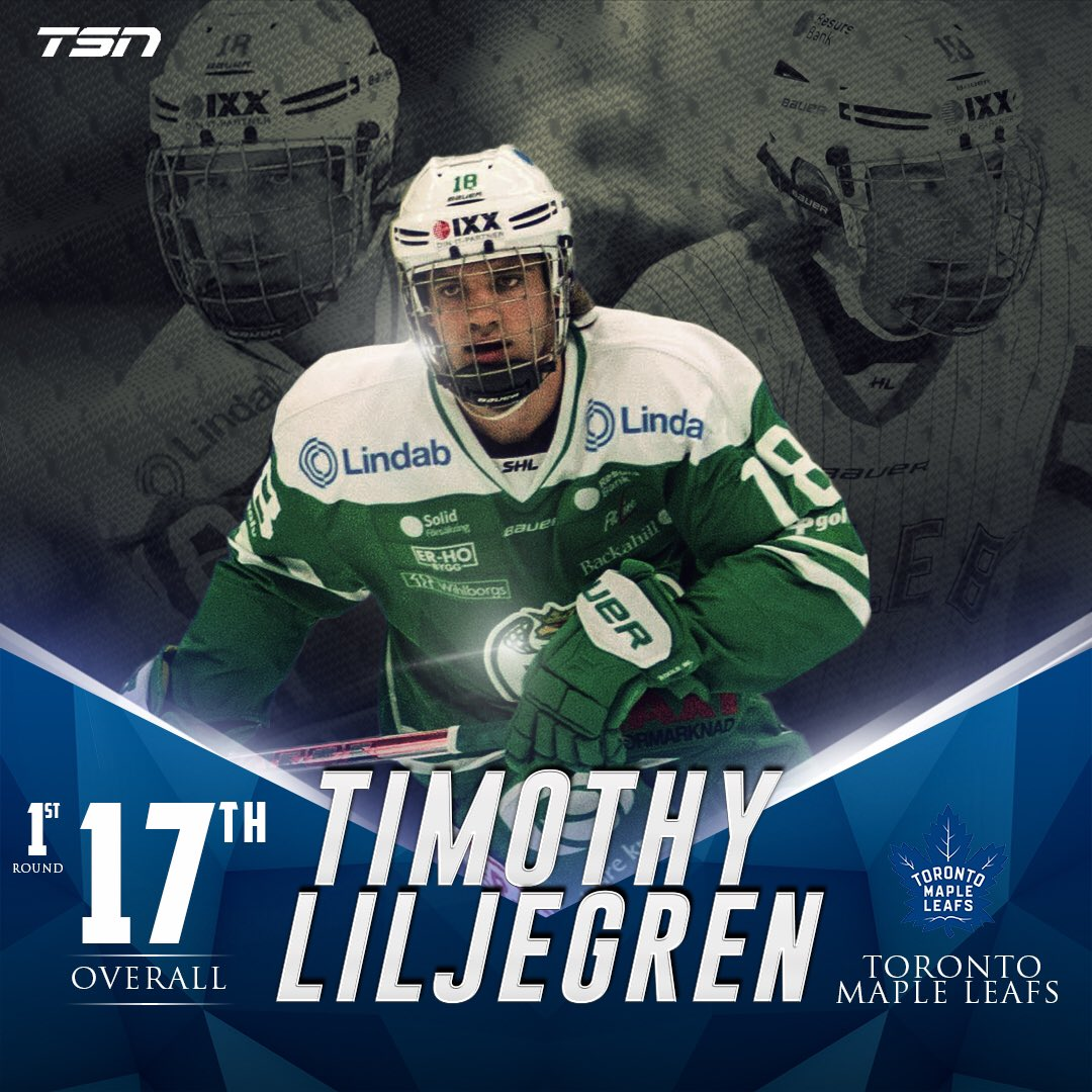 The Toronto Maple #Leafs select defenceman Timothy Liljegren 17th over...