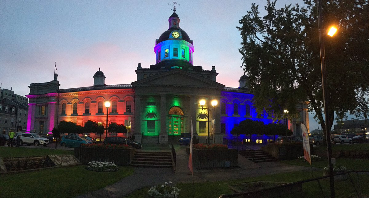 Kingston City Hall looking amazing tonight!  @cityofkingston #Pride2017  #YGK <br>http://pic.twitter.com/od7vzeCl5G