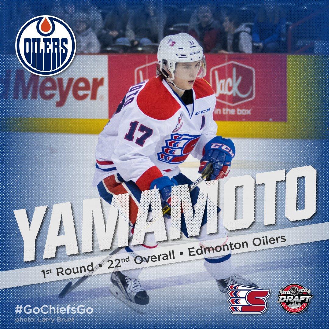 Kailer Yamamoto: future Edmonton Oiler. #GoChiefsGo #2017NHLDraft http...