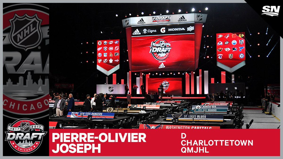 The #Coyotes take Pierre-Olivier Joseph 23rd overall. #MEETTHEFUTURE...
