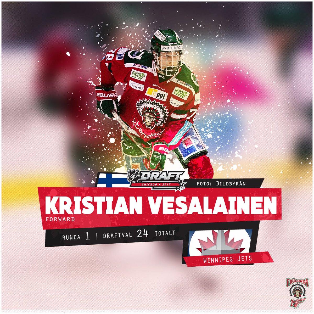 Kristian Vesalainen plockas, i draftens 24:e val totalt, utav Winnipeg...