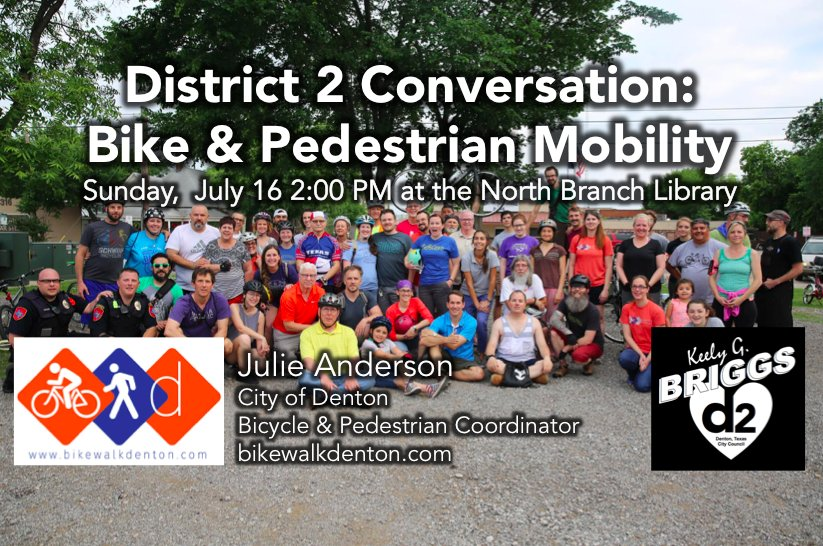 #Denton July&#39;s District 2 Conversation - Bike|Pedestrian Mobility with Julie Anderson, @cityofdentontx  Bicycle &amp; Pedestrian Coordinator<br>http://pic.twitter.com/Xy0S8qvMyS