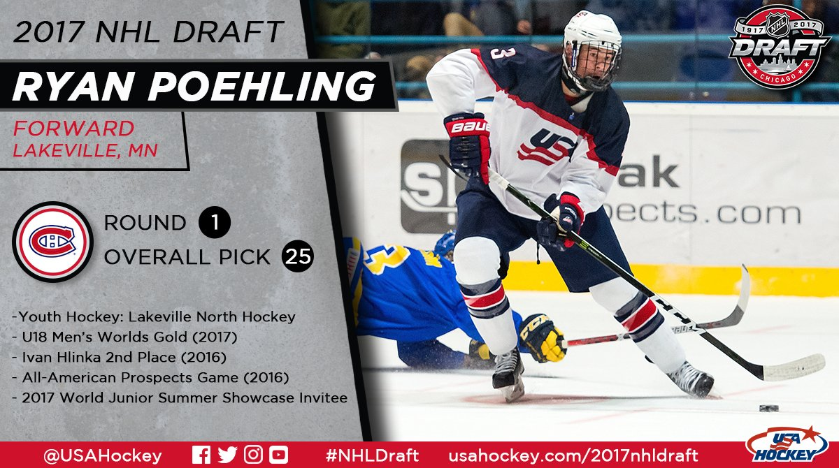 The @CanadiensMTL take Ryan Poehling with the 25th pick of the 2017 #N...