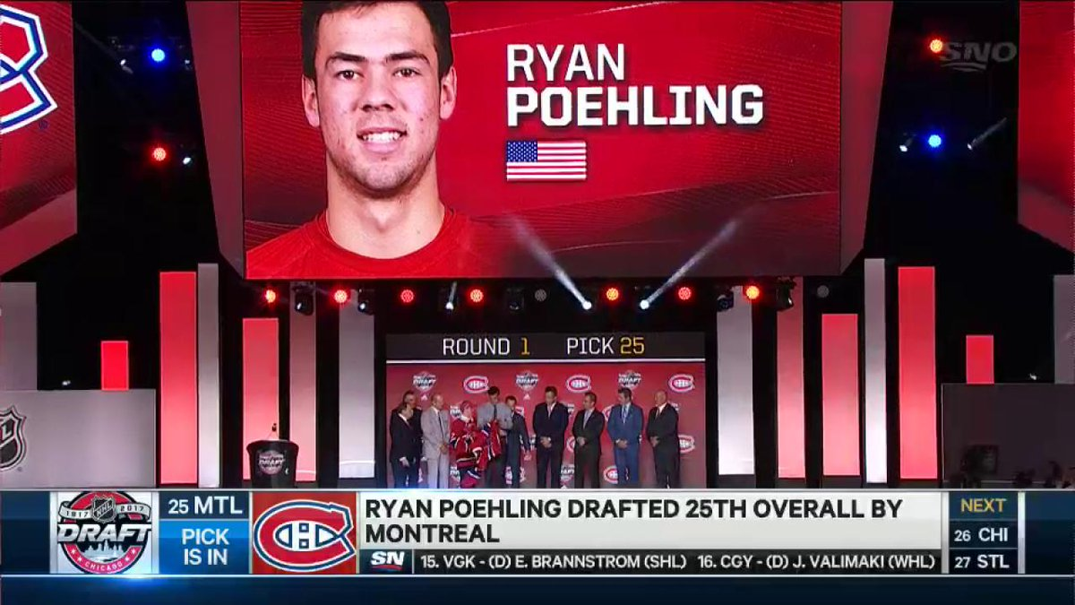 Ryan Poehling puts on the bleu blanc et rouge of the Canadiens for the...