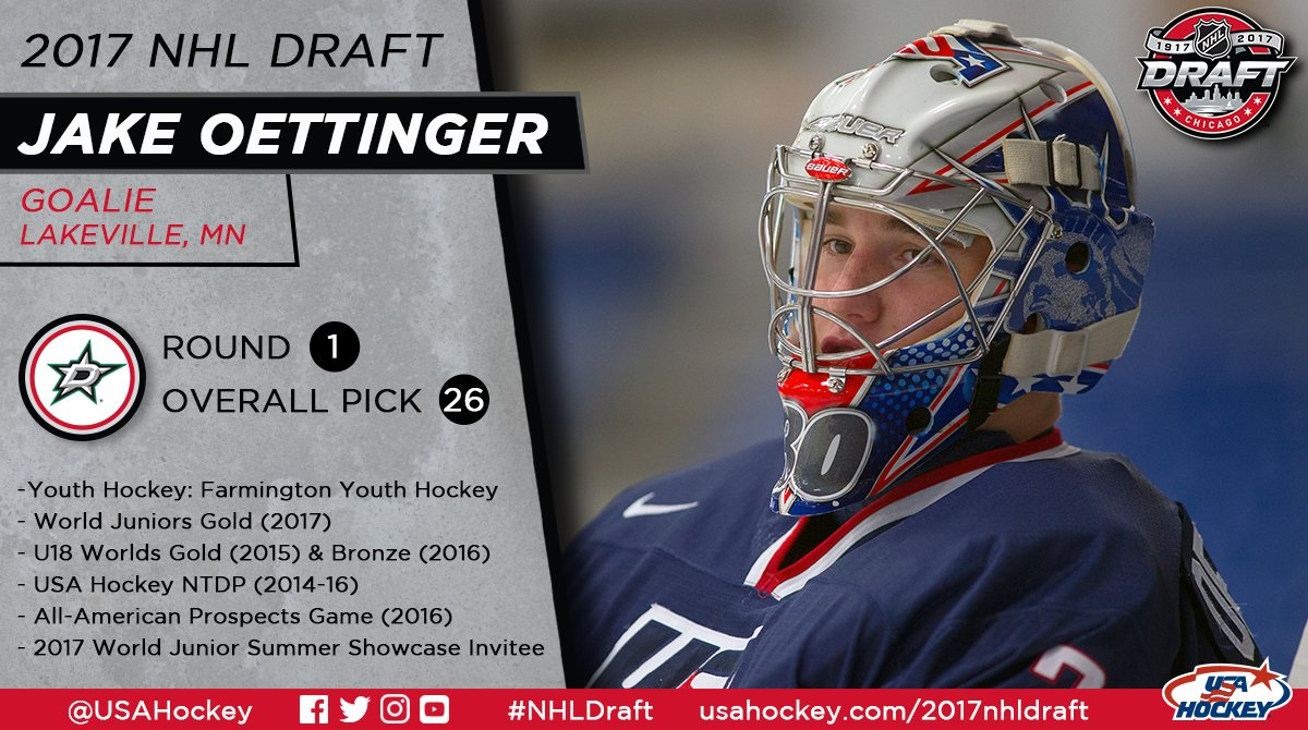 With the 26th pick, the @DallasStars select Jake Oettinger, the first...