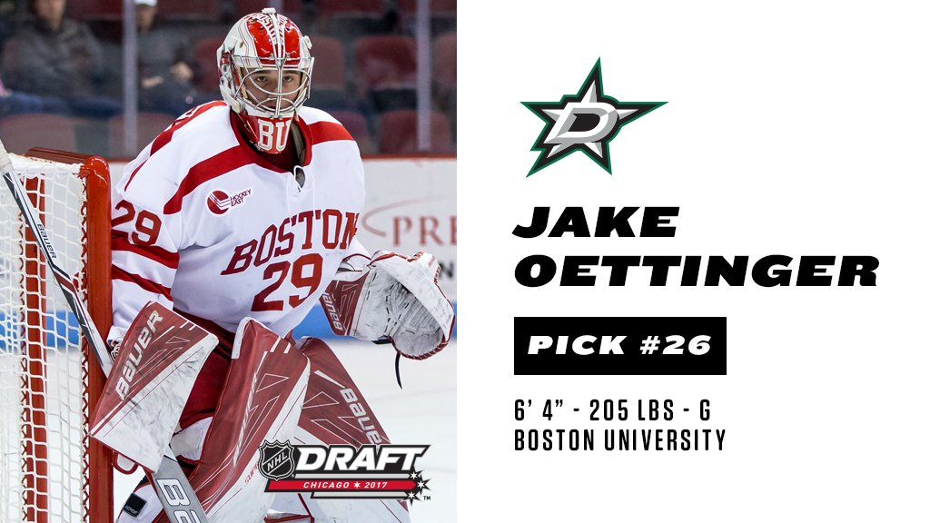 The Stars select G Jake Oettinger with the 26th pick in the #NHLDraft....