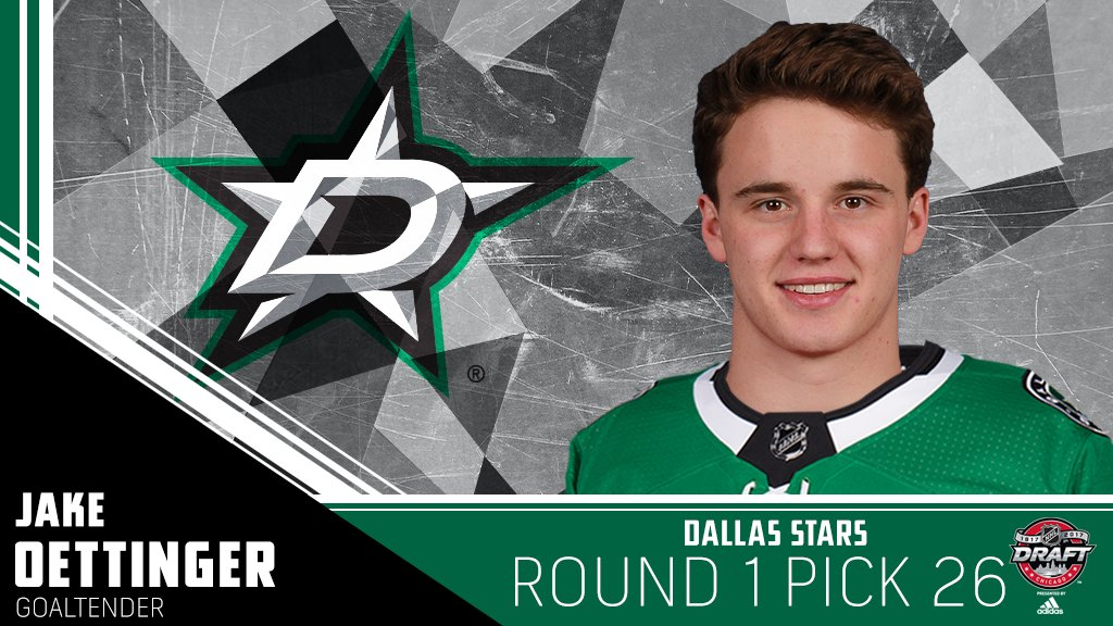 The @DallasStars trade up to make @jake_oettinger the first goaltender...