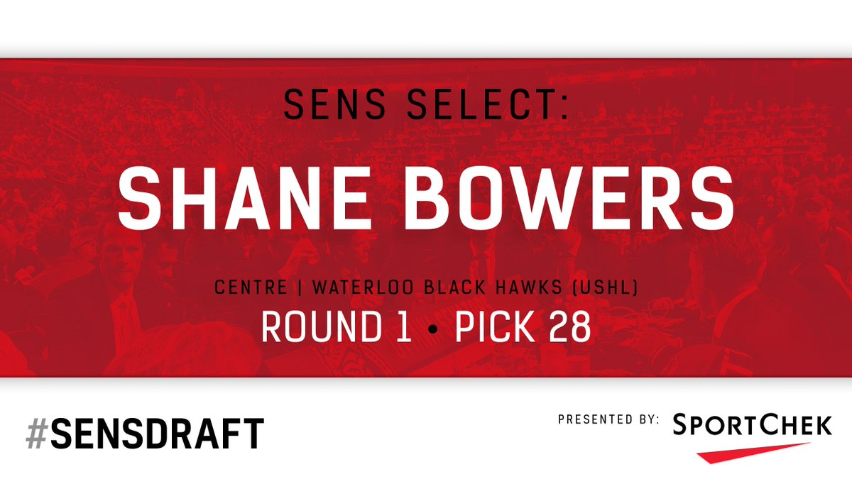 With the 28th pick the #Sens select C Shane Bowers. #SensDraft https:/...