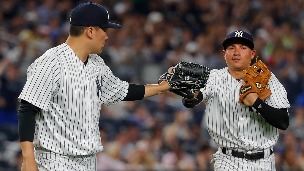 6⃣ strikeouts and 5⃣ scoreless innings so far for Tanaka! 🔥🔥🔥🔥🔥 https:...