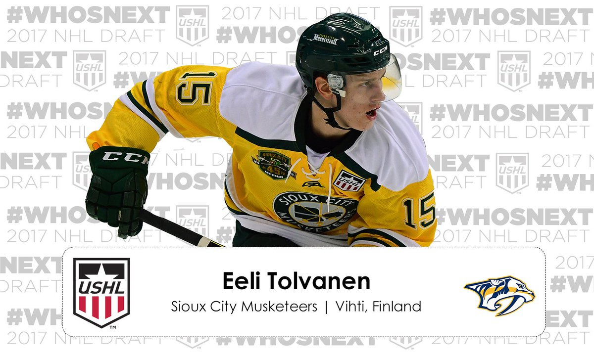#NHLDraft | The @PredsNHL select Eeli Tolvanen 30th overall https://t....