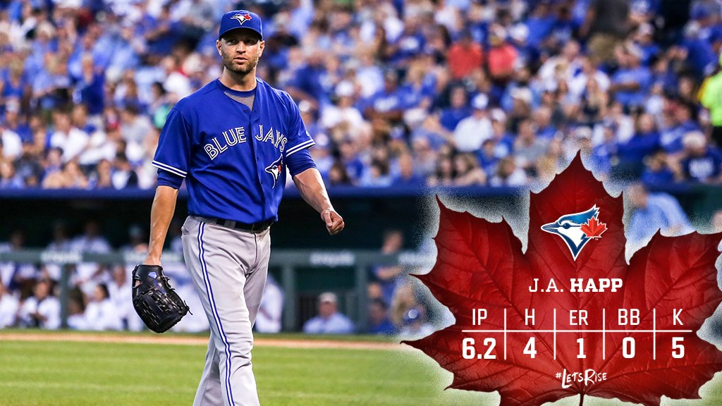 J.A. Happ gave us exactly what we needed tonight! #LetsRise   To the 8...