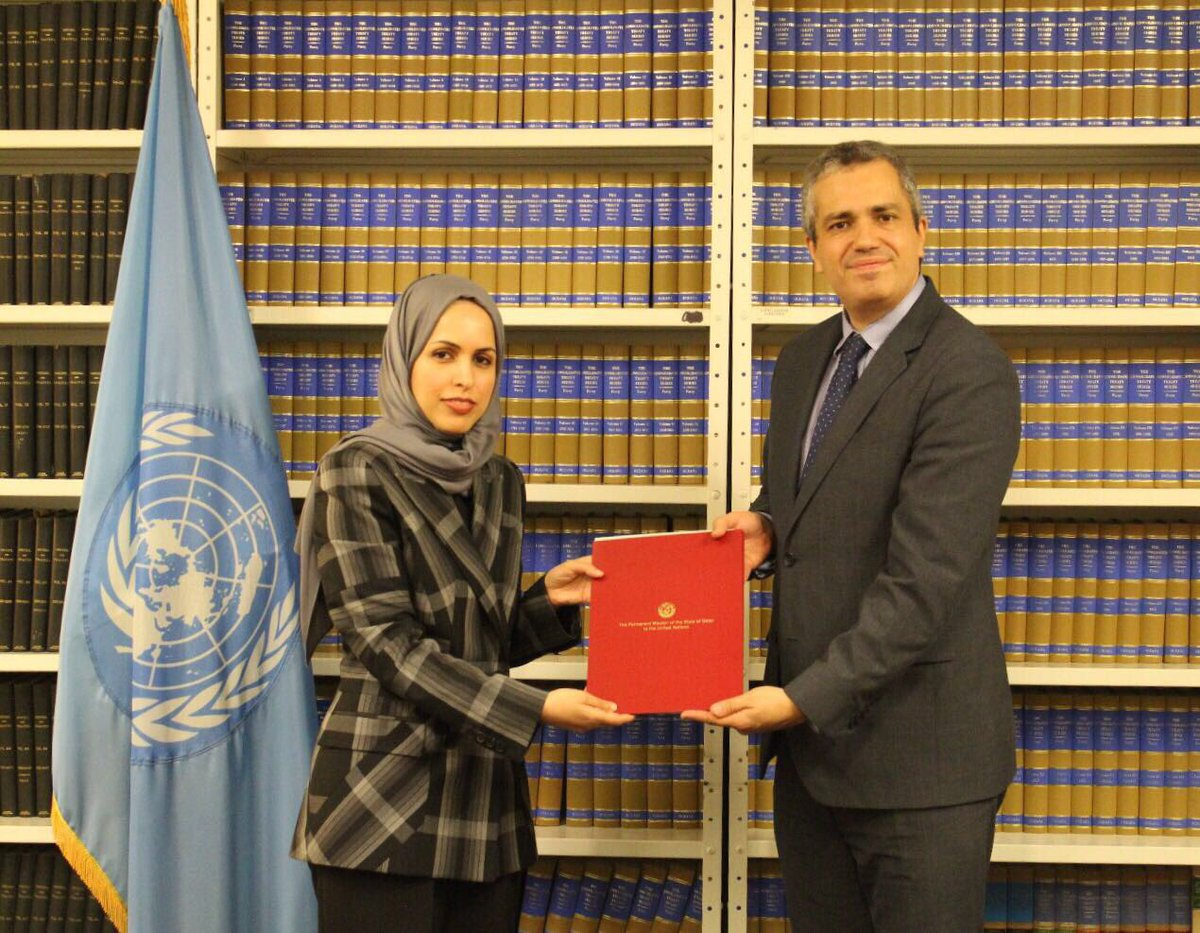 Today I Deposited the Ratification of #ParisAgreement on Climate Change,thus making Qatar the 150th country to ratify the Convention #COP22<br>http://pic.twitter.com/utv3fzqBkV