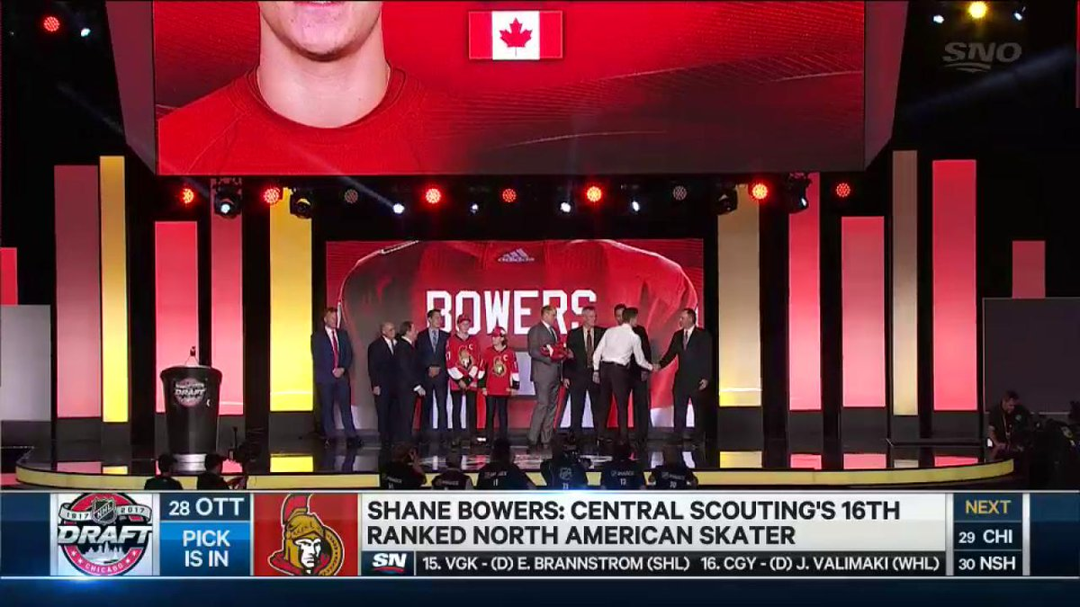 Shane Bowers puts on the Ottawa Senators sweater for the first time. @...