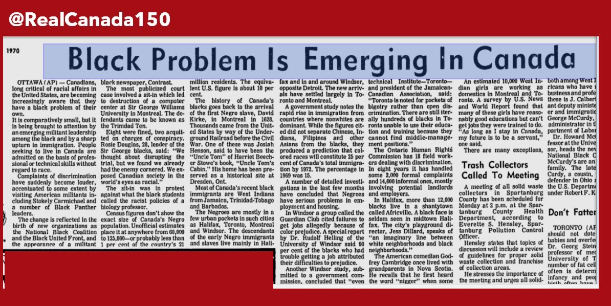 "1970: «The Black Problem is Emerging in Canada»  …  #cdnpoli"" #canada150  #cdnimm #racism"