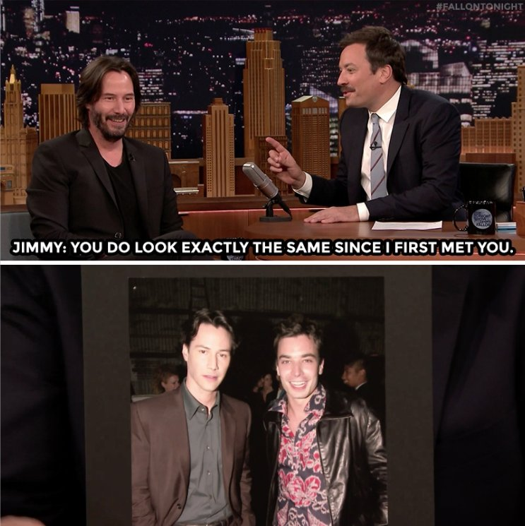 Jimmy & Keanu Reeves reminisce about their #FlashbackFriday photo...