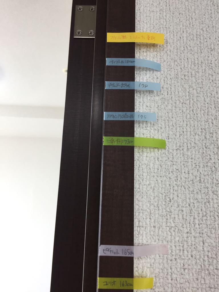 引越しで残った荷物無いかチェックしてる時に忘れていたキャラ身長チェックの柱…2次元と3次元混ざってますが。