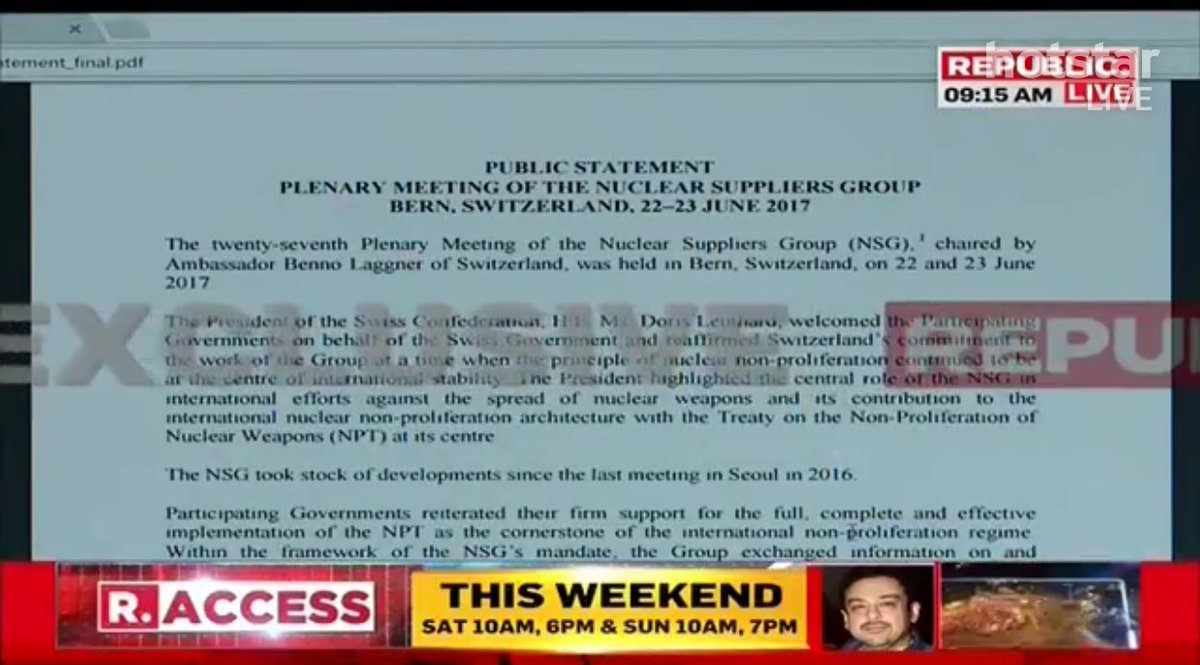 #EXCLUSIVE: Nuclear Suppliers Group (NSG) discusses #India&#39;s membership, ignores #Pakistan. Big statement from NSG in Bern, Switzerland.<br>http://pic.twitter.com/36hpvEYXah