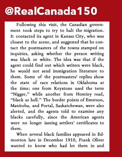 "READ:  ""Diplomatic Racism Canadian Government And Black Migration From Oklahoma, 1905-1912"" (published in 1983). #cdnimm #canada150"