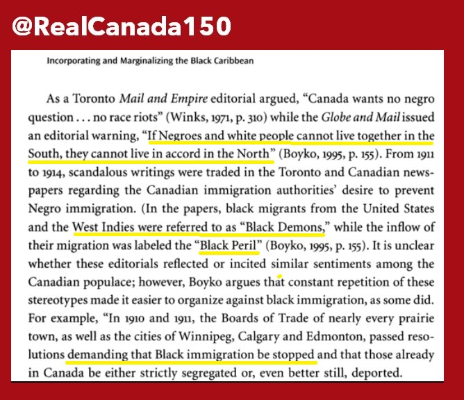 1910-1914 : Canadians lobby to ban Black immigrants and deport the ones who got in by 'mistake'. #canada150 #cdnpoli #racism