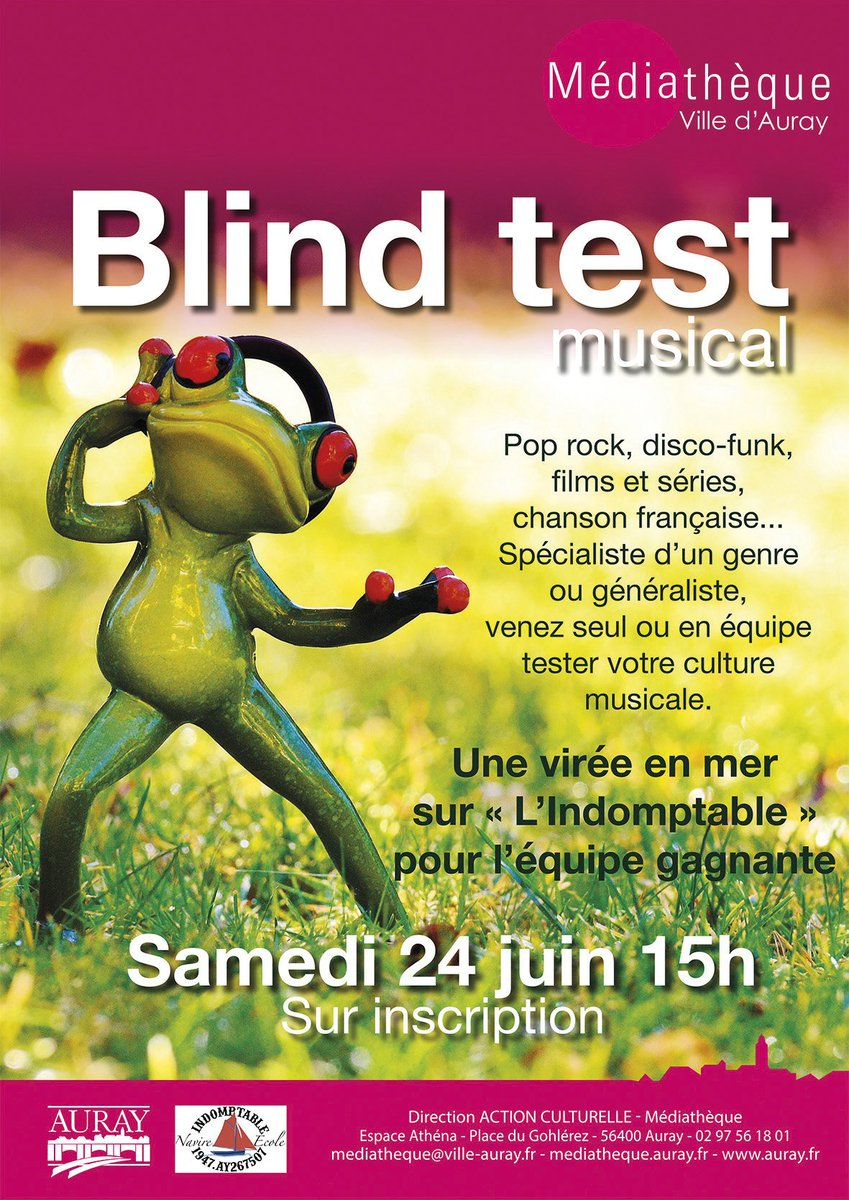 #BlindTest #AURAY #mediatheque  INSCRIPTION  SUR PLACE OU AU 02/97/56/18/01 <br>http://pic.twitter.com/lNpxYJlfsy